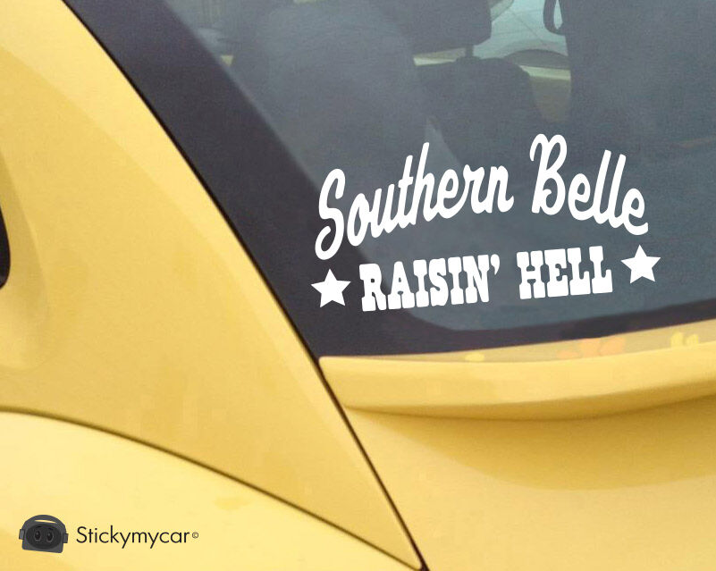 Ebay Motors Fees >> Southern Belle Raisin' Hell cute car decal sticker country girl Truck whiskey | eBay