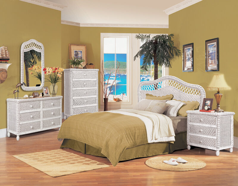B579 white santa cruz wicker and rattan bedroom 4 pc set - Pier one white wicker bedroom furniture ...