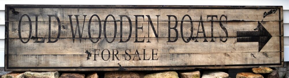 Old Wooden Boats For Sale with Arrow Wood Sign - Rustic ...