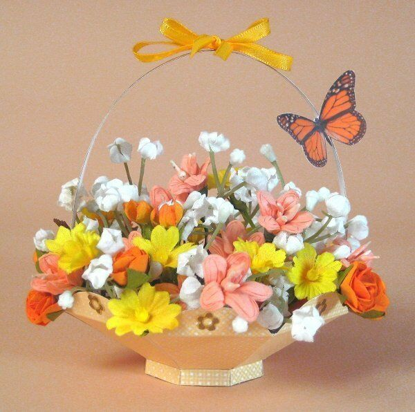 How To Make Flower Basket From Paper : A card making templates for d flower basket display