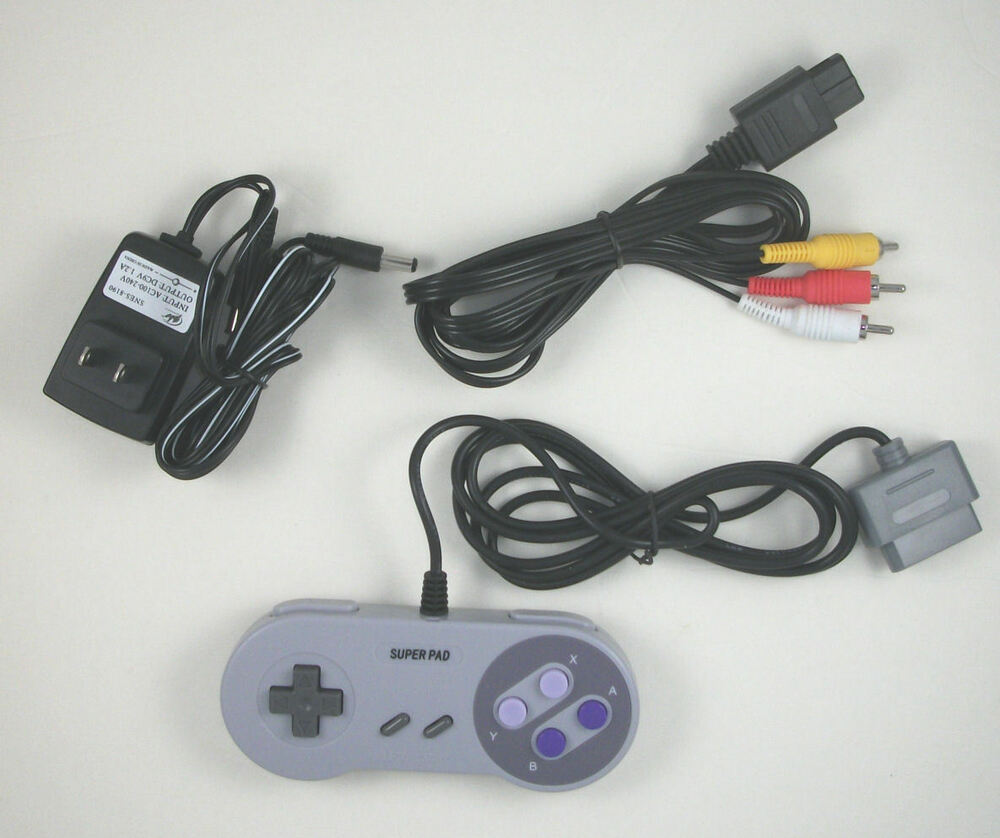 us seller super nes snes hookup kit ac adapter power cord. Black Bedroom Furniture Sets. Home Design Ideas