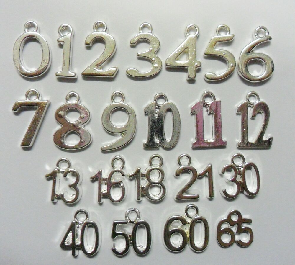 10 x number charms silver plated age pendants birthday