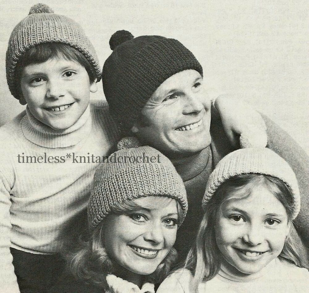 VINTAGE KNITTING PATTERN FOR FAMILY BOBBLE HATS / HAT 4 ...