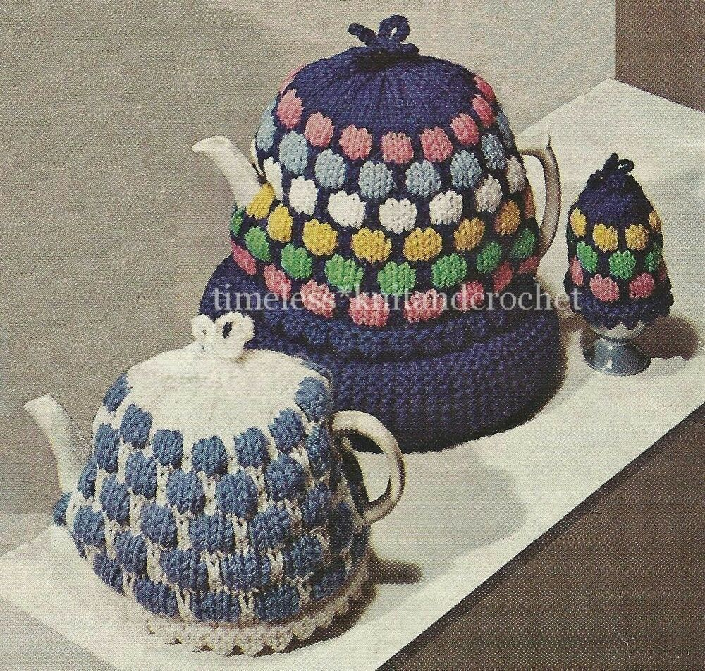 Free Knitting Patterns Flowers : VINTAGE KNITTING PATTERN FOR TEA COSY IN 2 SIZES, TEA COSY NEST, EGG COSIES ...