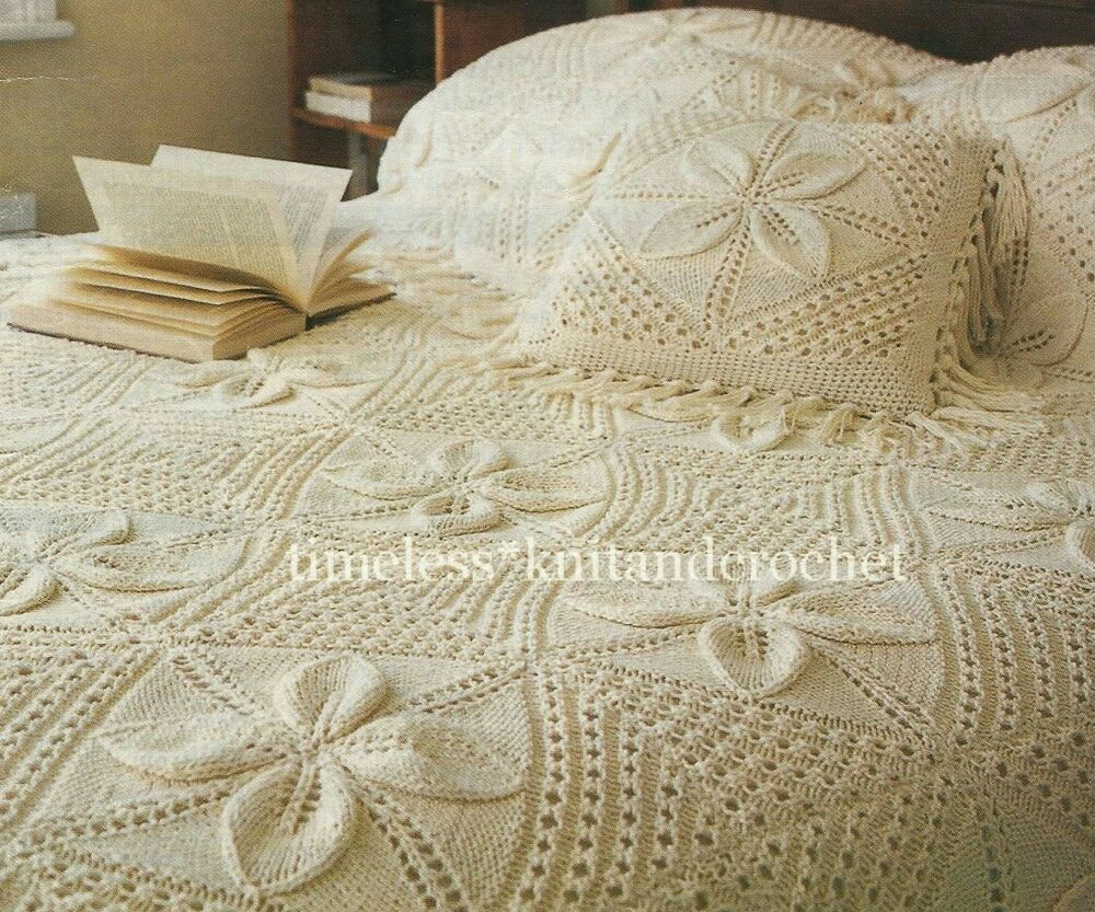 Knitting Patterns For Cushions And Throws : VINTAGE KNITTING PATTERN FOR A BEAUTIFUL HEIRLOOM BEDSPREAD & CUSHION eBay