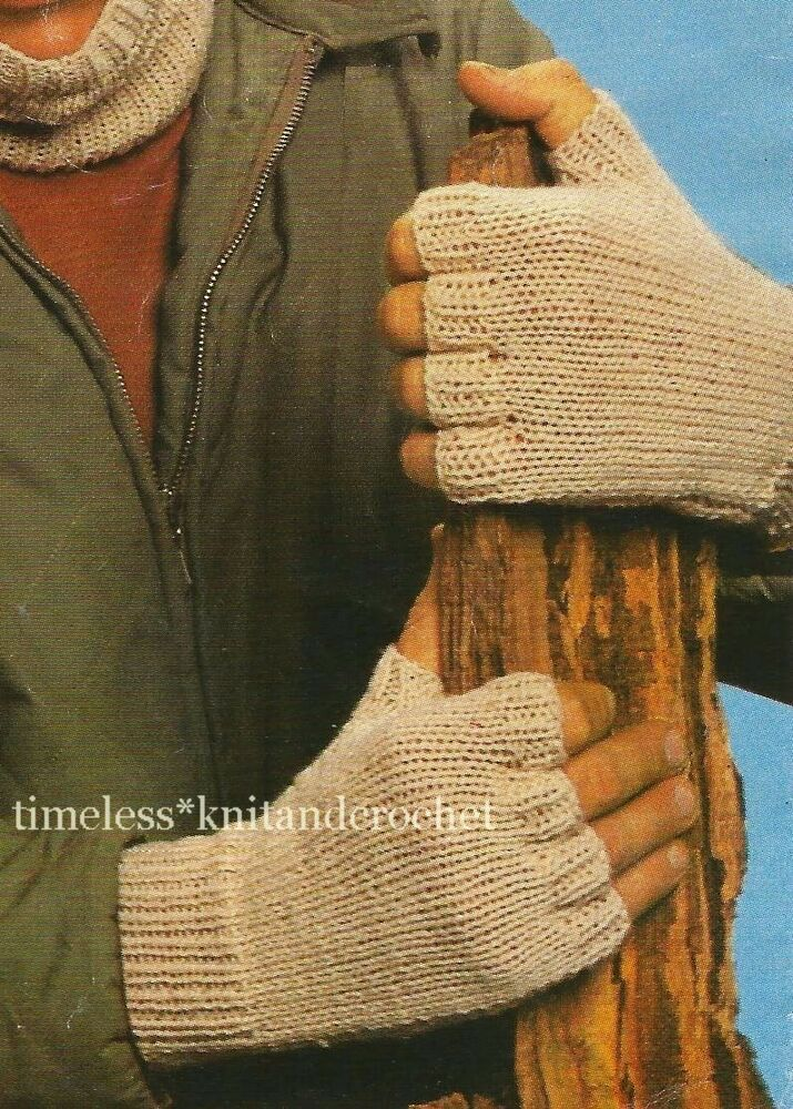 Mens Mittens Knitting Pattern : VINTAGE KNITTING PATTERN FOR MENS FINGERLESS GLOVES - DK eBay