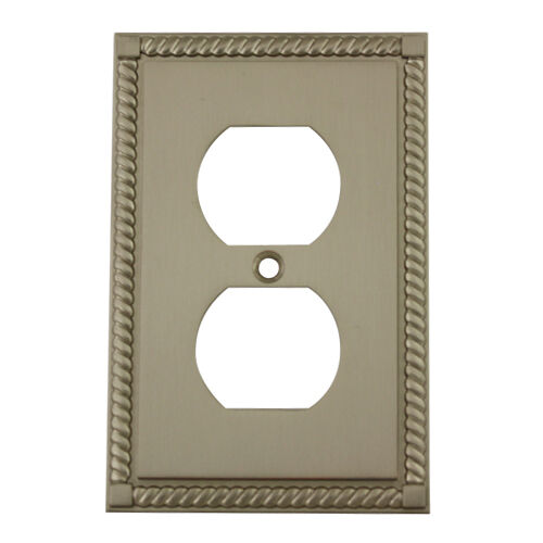 Decorative Wall Plates For Electrical Outlets : Satin nickel single duplex outlet decorative wall