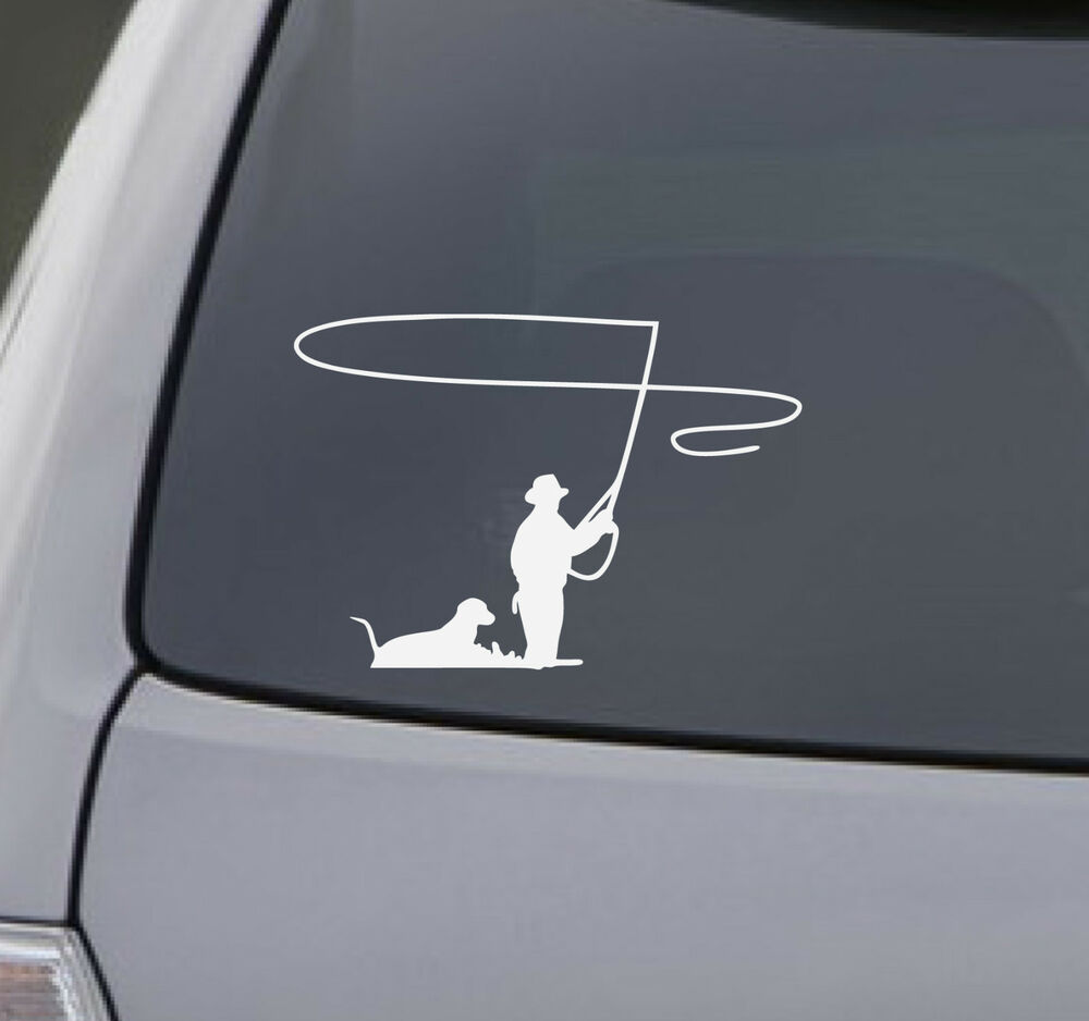 Fly fishing decal car truck bumper window sticker dog for Hunting and fishing decals