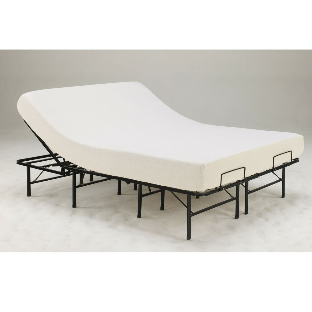 adjustable heavy duty metal posture support queen mattress platform bed frame ebay. Black Bedroom Furniture Sets. Home Design Ideas