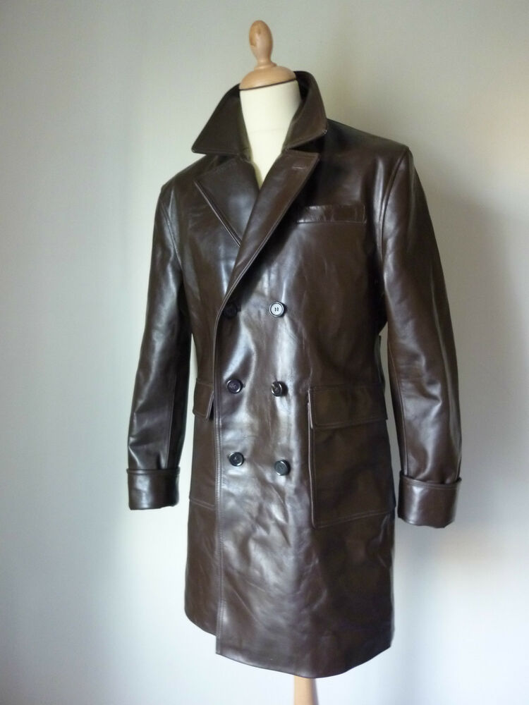 Pegasus Gangster Trench Over Coat Horsehide Leather