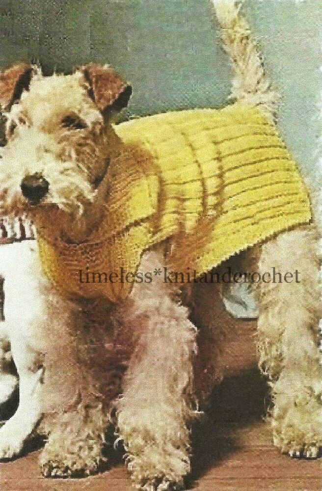 Dog Coat Knitting Pattern Uk : Vintage knitting pattern for a ribbed dog coat sizes