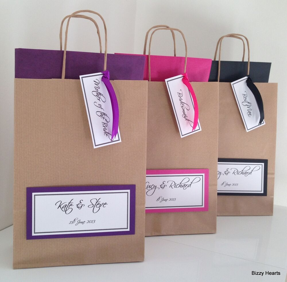 Personalised Wedding Gift Bags Uk : ... BROWN LUXURY PERSONALISED PAPER WEDDING FAVOUR PARTY GIFT BAG eBay