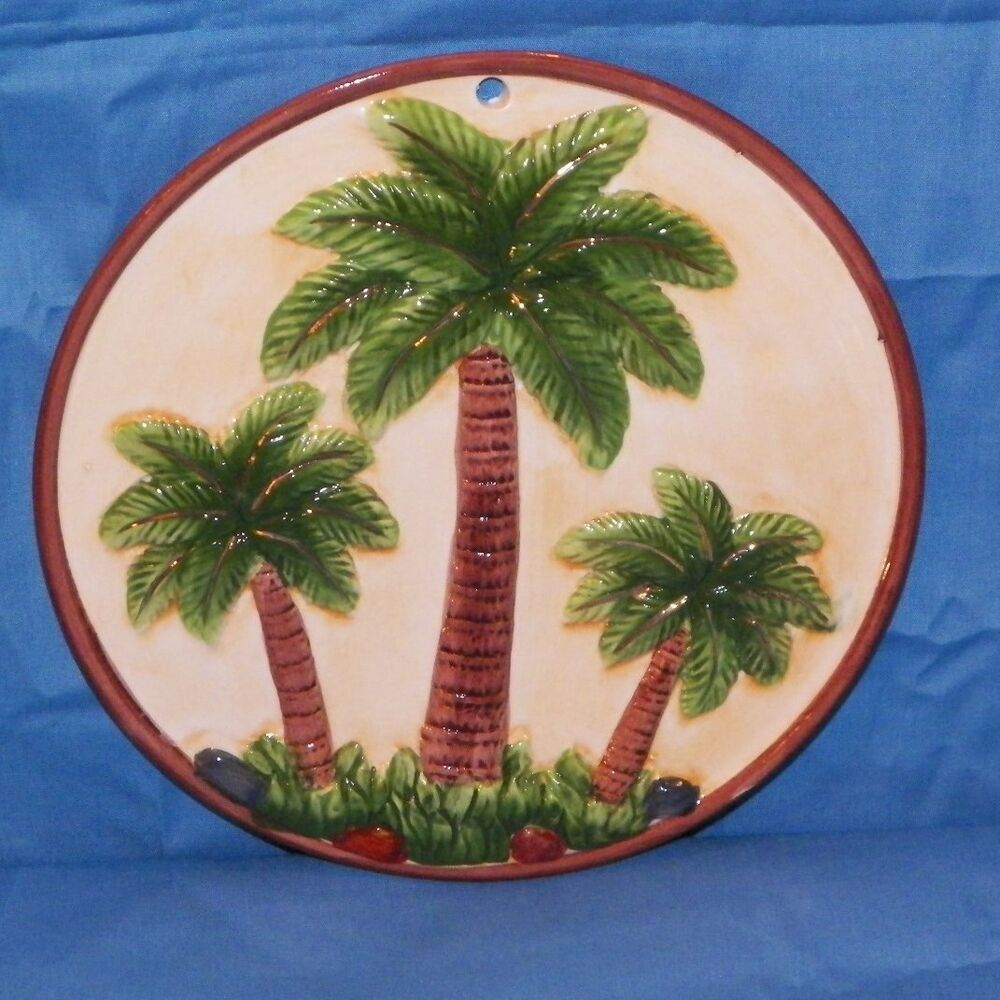NEW PALM TREE BEACH TROPICAL CERAMIC KITCHEN TRIVET HOT