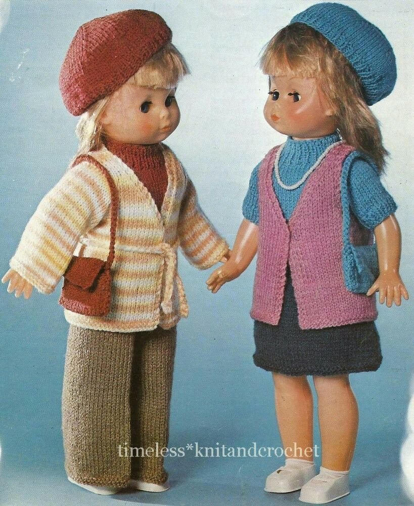 Vintage Knitting Patterns Dolls Clothes : VINTAGE KNITTING PATTERN FOR 2 SETS OF DOLL CLOTHES to fit ...
