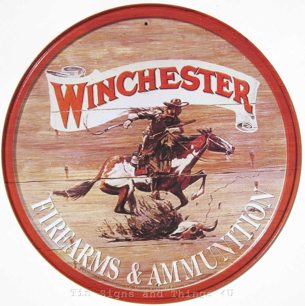 Metal Signs For Home Decor: Winchester Cowboy ROUND Metal TIN SIGN Vintage Horse Gun