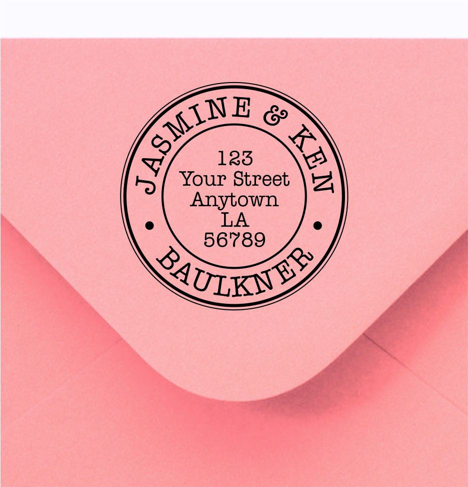 custom made handle mounted rubber stamp return address wedding r138
