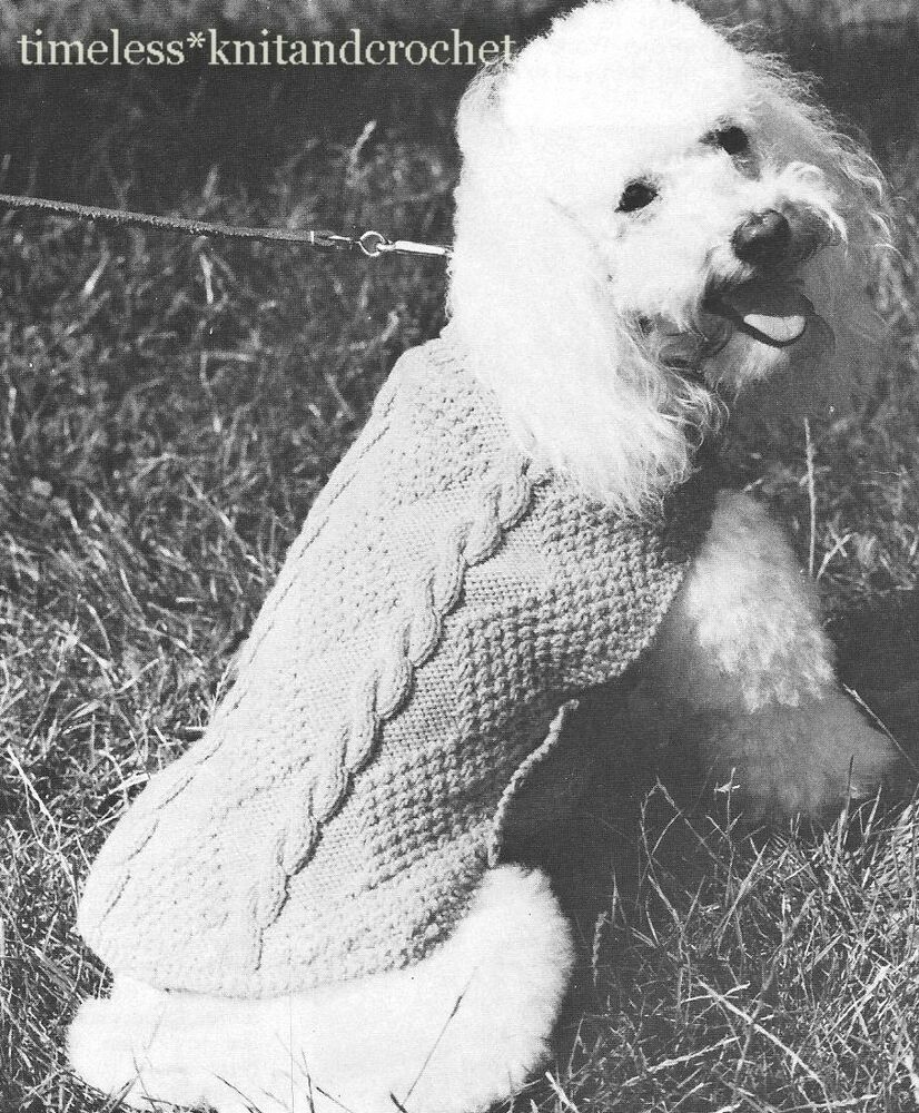 Dog Coat Knitting Pattern Uk : Vintage knitting pattern for small aran style poodle dog