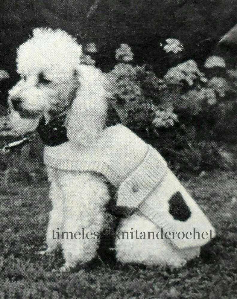 VINTAGE KNITTING PATTERN FOR A DOG COAT IN 3 SIZES length ...