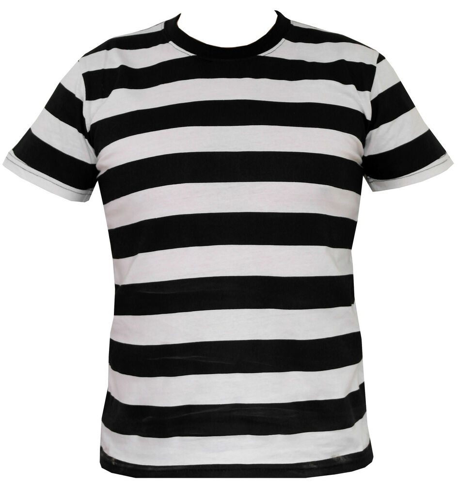 Mens black and white striped t shirt s m l xl ebay