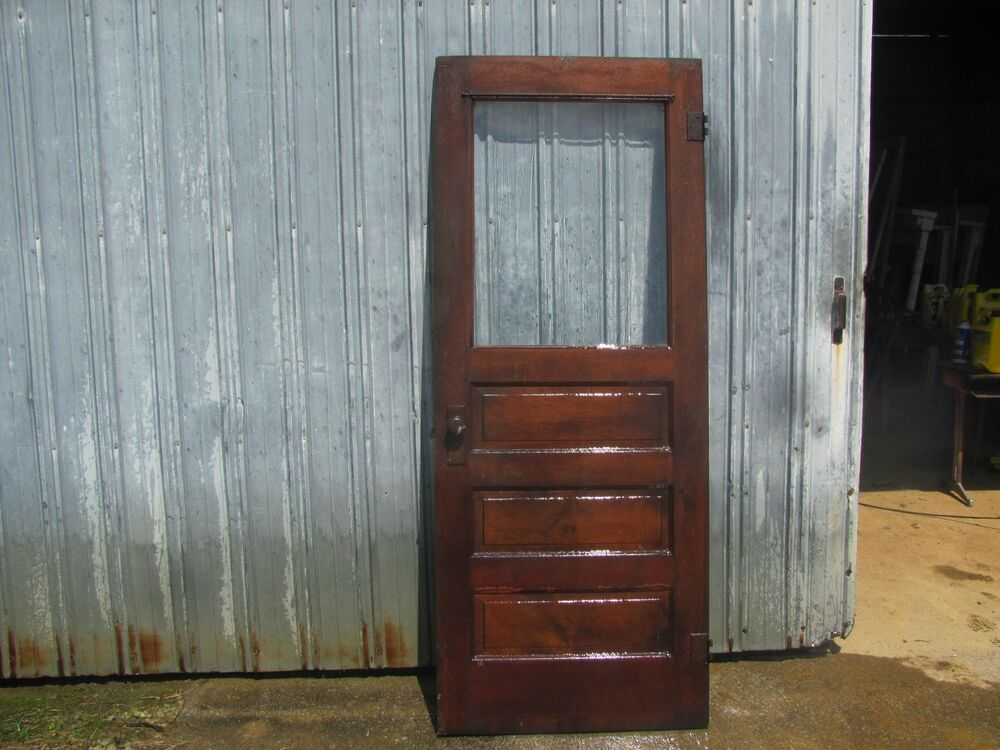 Antique solid wood front entry door with original glass for Vintage solid wood doors