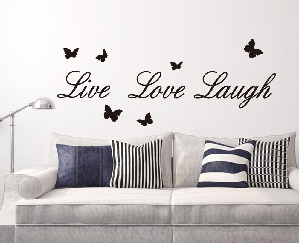 live laugh love wall quote vinyl stickers diy wall art wall decal high quality ebay. Black Bedroom Furniture Sets. Home Design Ideas