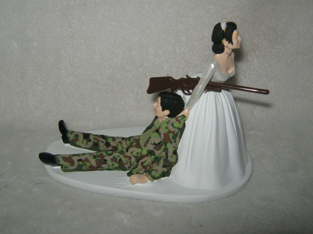 Military Wedding Party ~Custom Cake Topper Camo Hunter