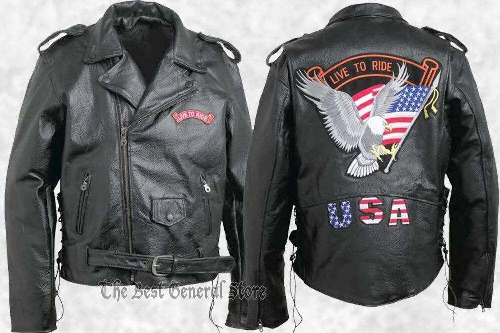 Mens Black Leather Motorcycle Biker-Style Jacket With Live To Ride USA Patches | EBay