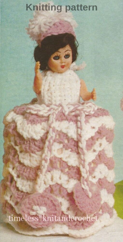 Vintage Knitting Pattern For A Doll Toilet Roll Cover