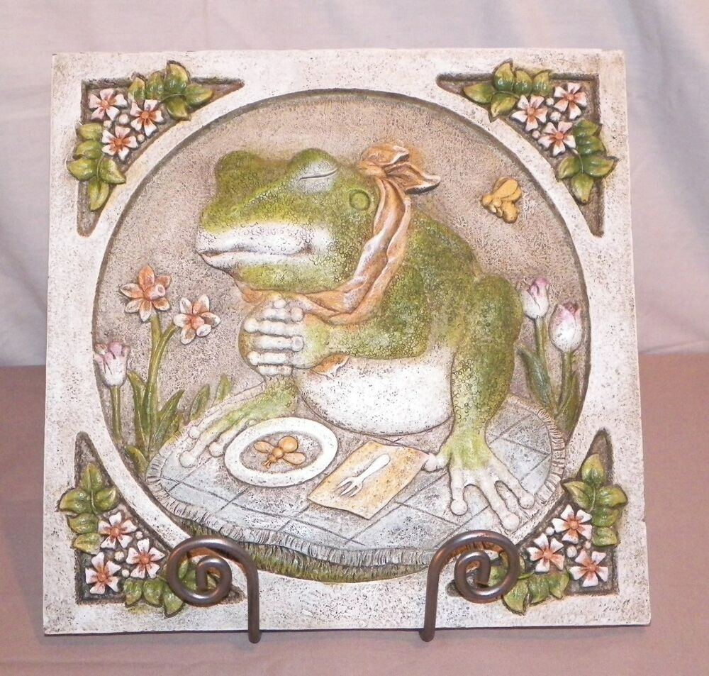 new mr frog saying grace for food garden stepping stone or hanging wall decor ebay. Black Bedroom Furniture Sets. Home Design Ideas