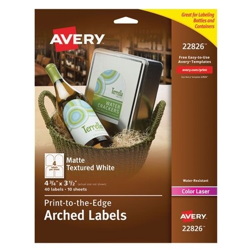 Printable Wine Bottle Labels: Avery Print-to-the-Edge Arched Wine Bottle Labels