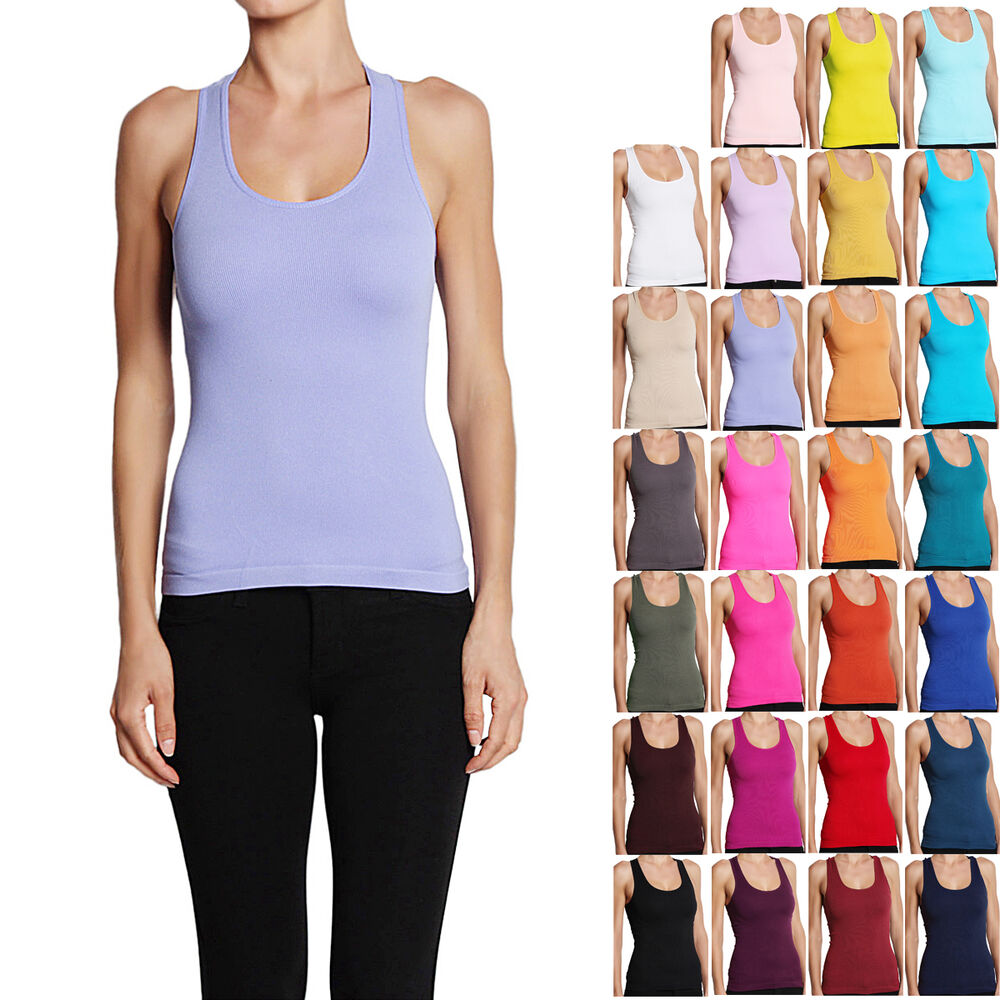 MOGAN Sports Racerback Plain Ribbed Knit Tank Top Seamless Fitted ...