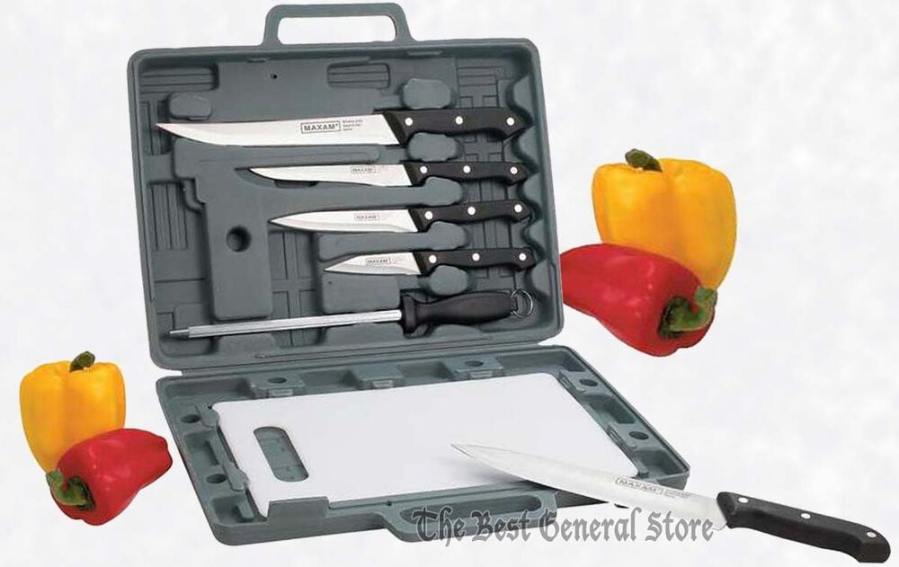 6 pc knife set with cutting board case camping kitchen for Kitchen knife set of 7pcs with cutting board