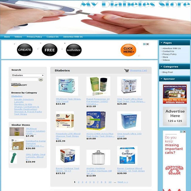Diabetes store turnkey affiliate website business for for Online website for sale