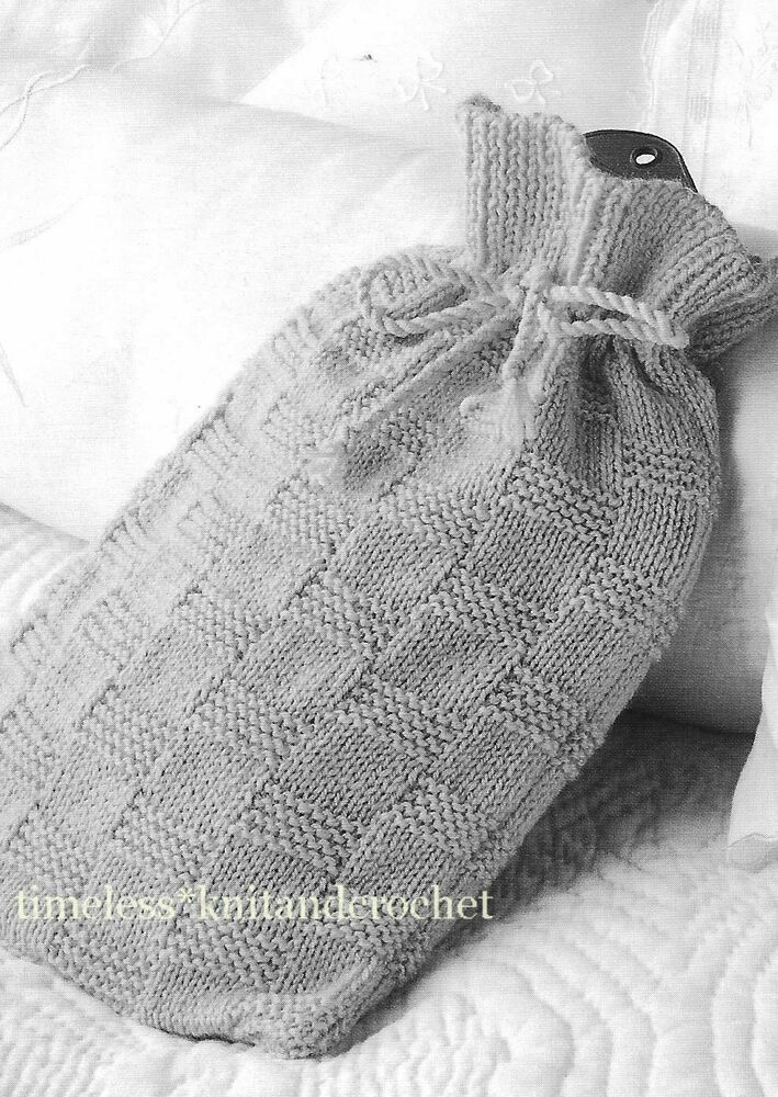 Easy Hot Water Bottle Knitting Pattern : VINTAGE KNITTING PATTERN FOR A HOT WATER BOTTLE COVER - HWB COVER - EASY - DK...