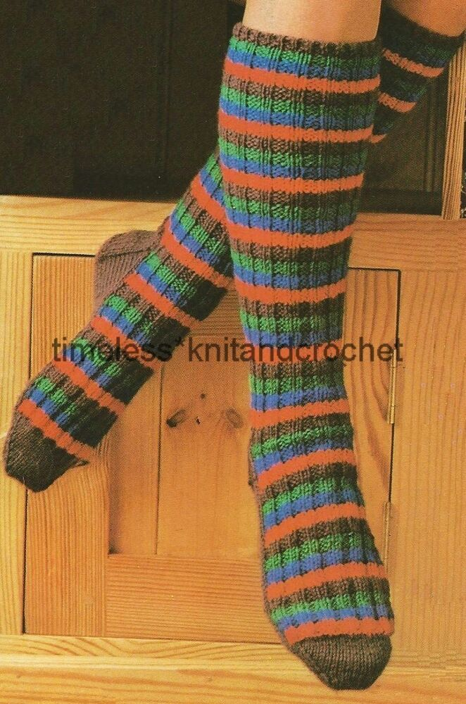 Knitted Sock Patterns On Two Needles : VINTAGE KNITTING PATTERN FOR WARM & COSY LONG SOCKS worked on 2 needles D...