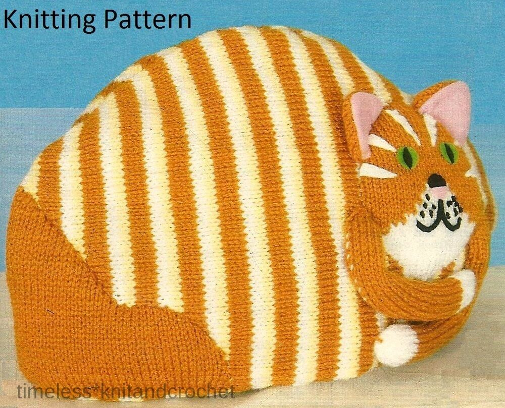 Free Patterns For Loom Knitting : VINTAGE KNITTING PATTERN A FOR STRIPED CAT TEA COSY - knitting pattern only ...