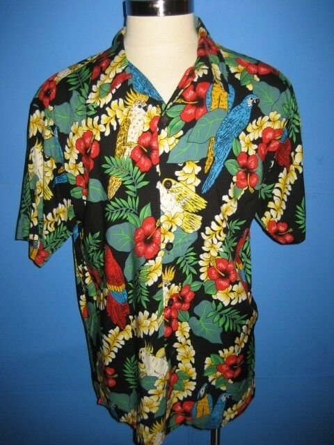 Vtg 80s Magnum Pi Parrot Jungle Hawaiian Camp Shirt L Mint