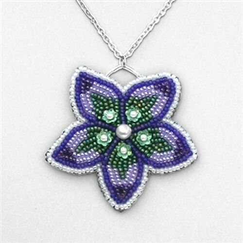 Embroidered Beads: Bead Embroidered Flower Pendant BEAD KIT Chain Included
