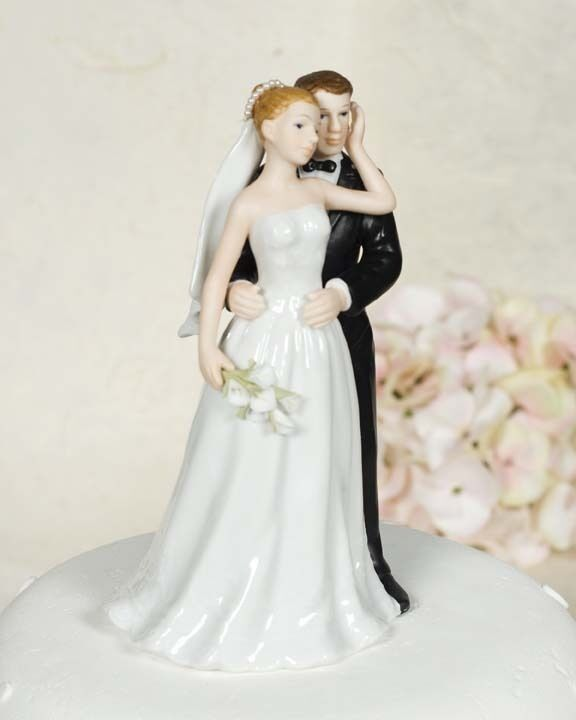 wedding cake toppers bride and groom with dog glazed porcelain calla and groom 26419