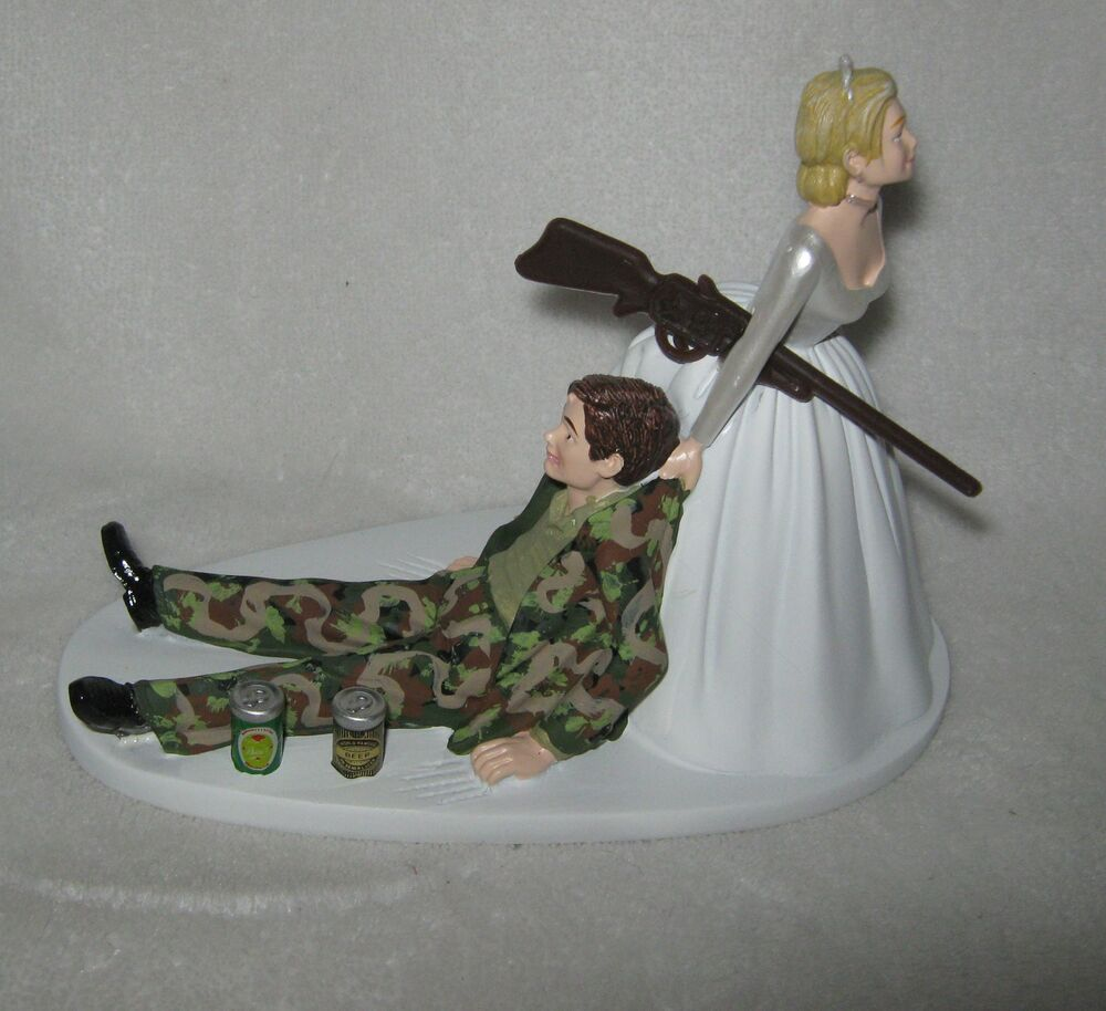Bride Wedding Cake Topper: Wedding Party Reception *Drunk Camo Groom (2) Beer Cans