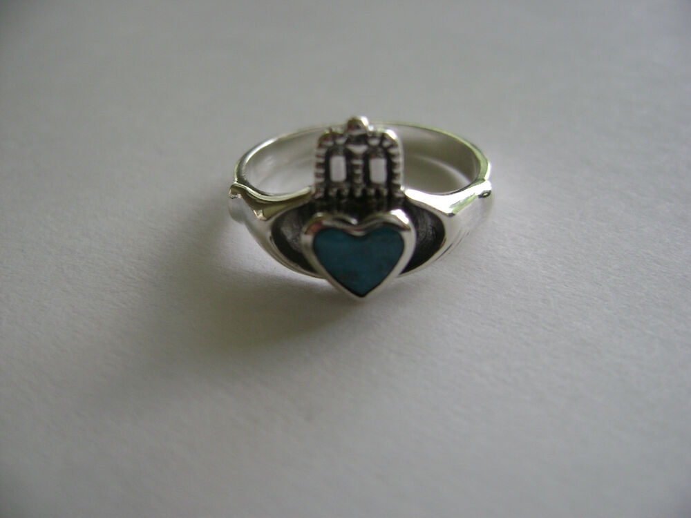 sterling silver celtic genuine turquoise inlay claddagh. Black Bedroom Furniture Sets. Home Design Ideas