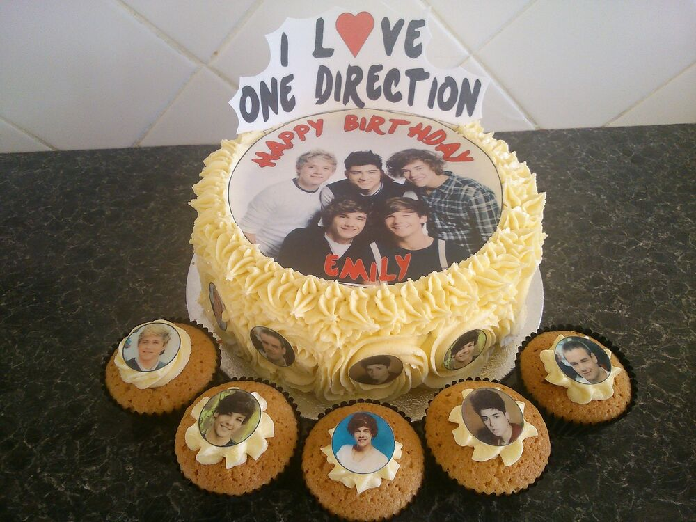 One Direction Cake Decoration Set + 10 Edible Cupcake ...