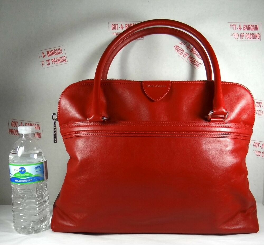 Marc Jacobs Releigh Red Leather Satchel Tote Bag Ebay
