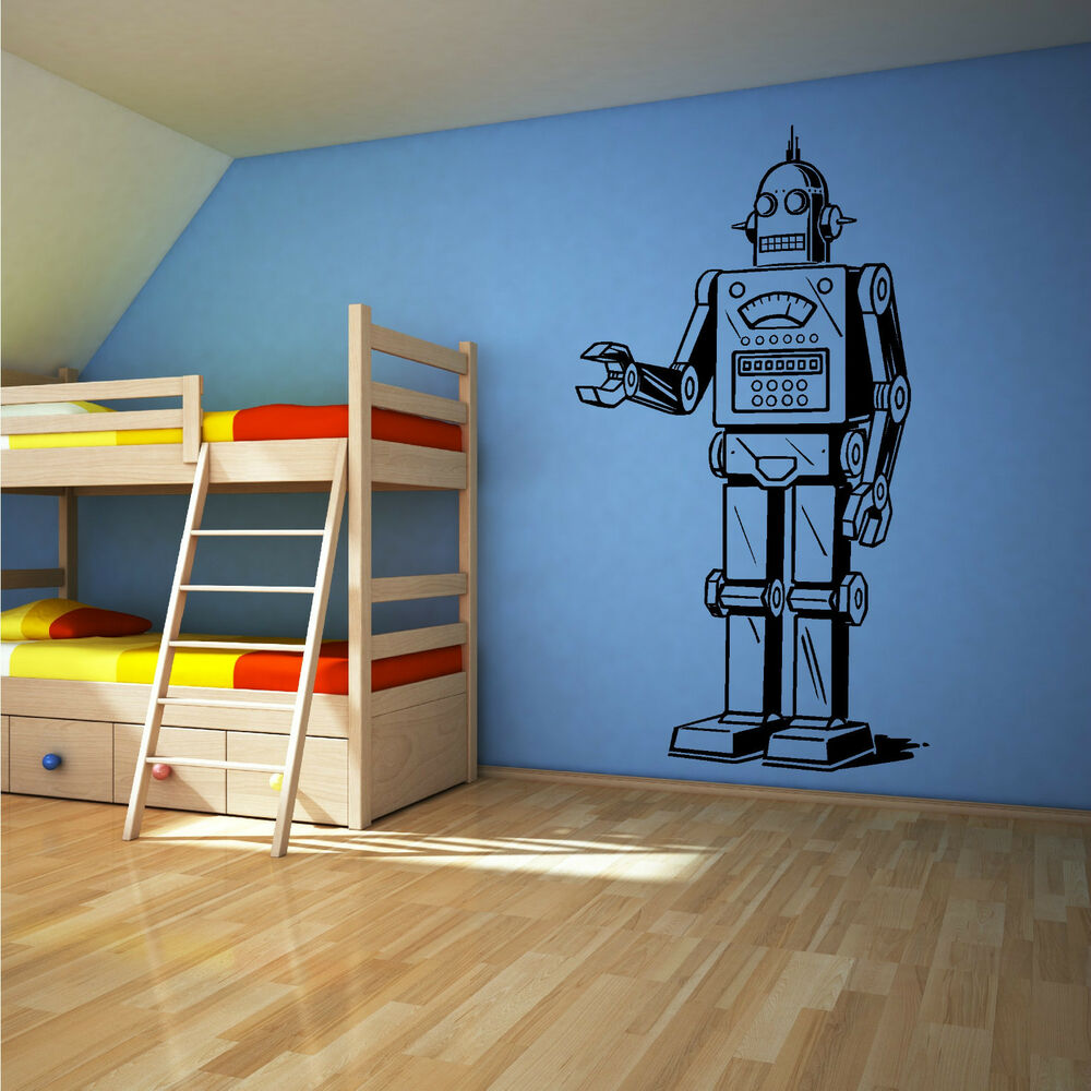 wall decals for bedrooms robot vinyl wall sticker decal boys bedroom childrens 17735