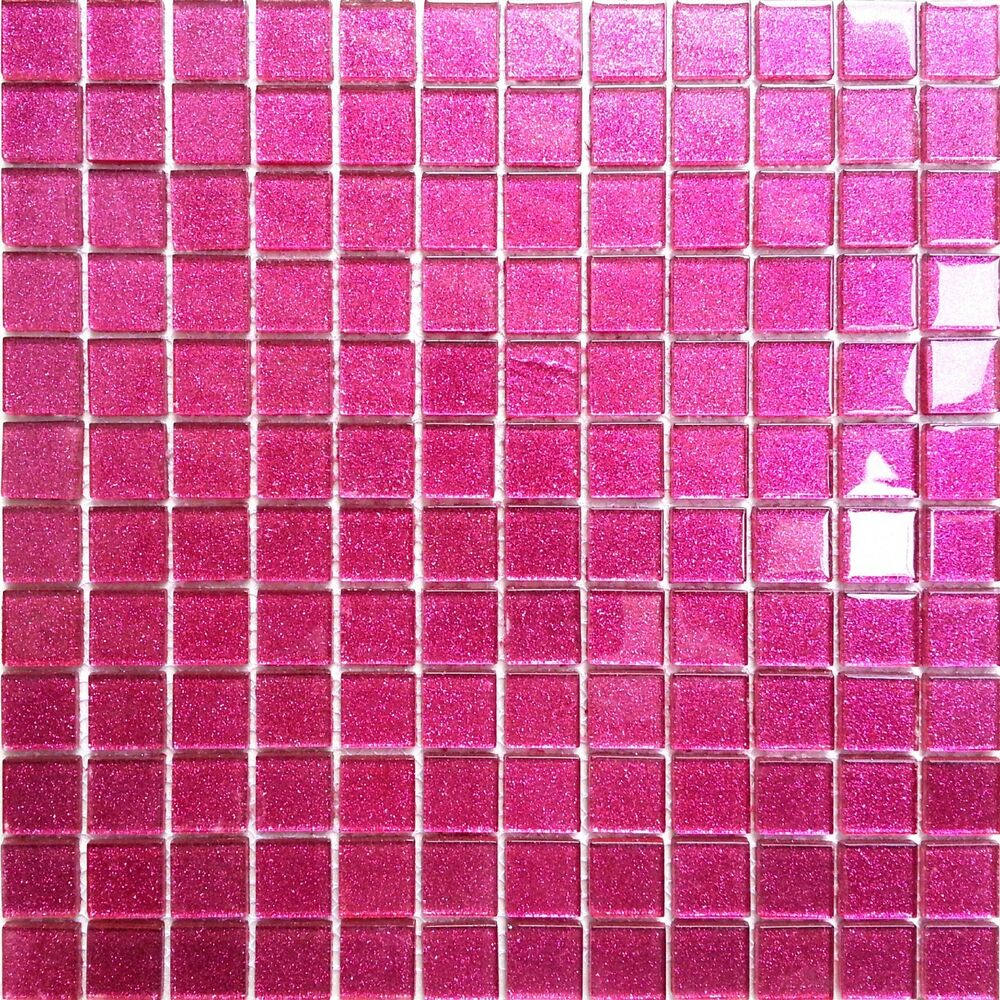 Glitter Pink Glass Feature Walls Bathroom Shower Mosaic