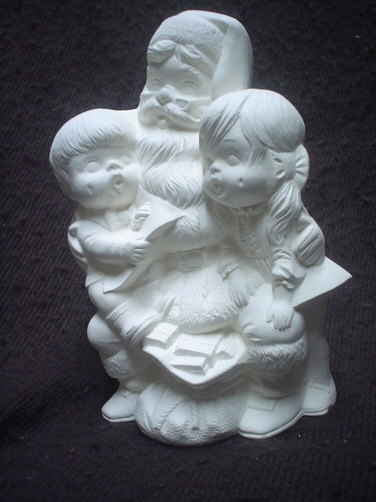 E414 7 ceramic bisque santa with children ready to for How to make ceramic painting