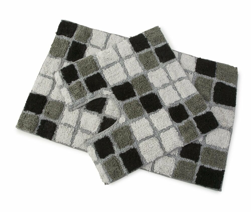 Black And White Rug Ebay Uk: DESIGNER COLLECTION BLACK 2PC BATH MAT BATHROOM RUG SET