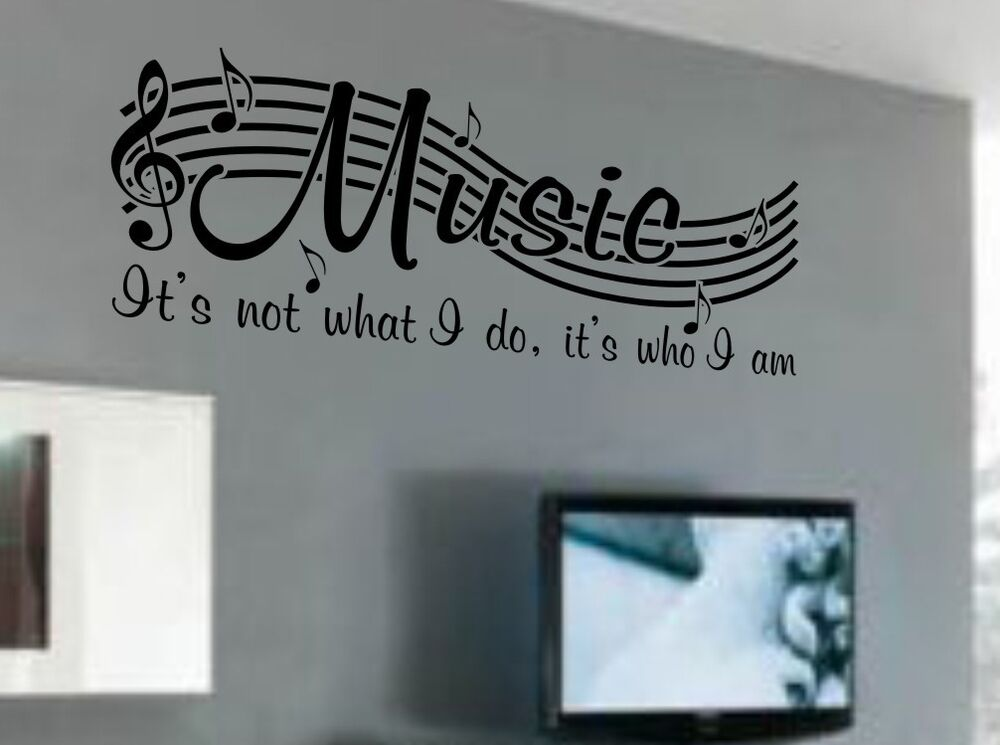 Music is not vinyl wall quote word decal dance musical for Room decor ideas quotes