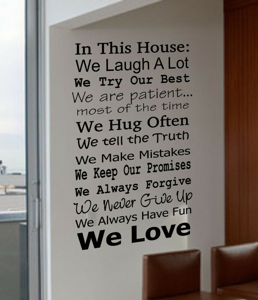 Real Quotes: IN THIS HOUSE FAMILY WE DO LOVE FUN REAL V4 Quote Vinyl