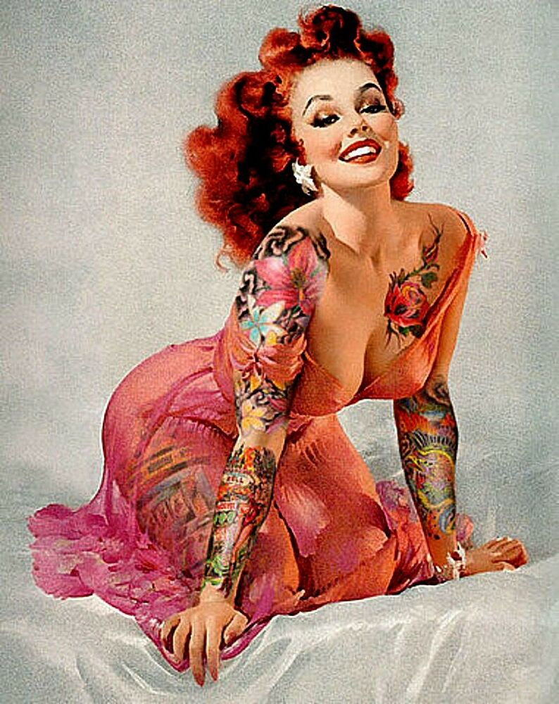 sexy busty tattooed bad girl pin up sticker for guitar bong laptop ebay. Black Bedroom Furniture Sets. Home Design Ideas